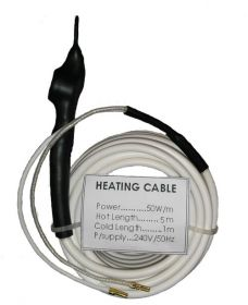 Heating cable with thermostat, flexible 1m. cold zone and 5m. hot zone